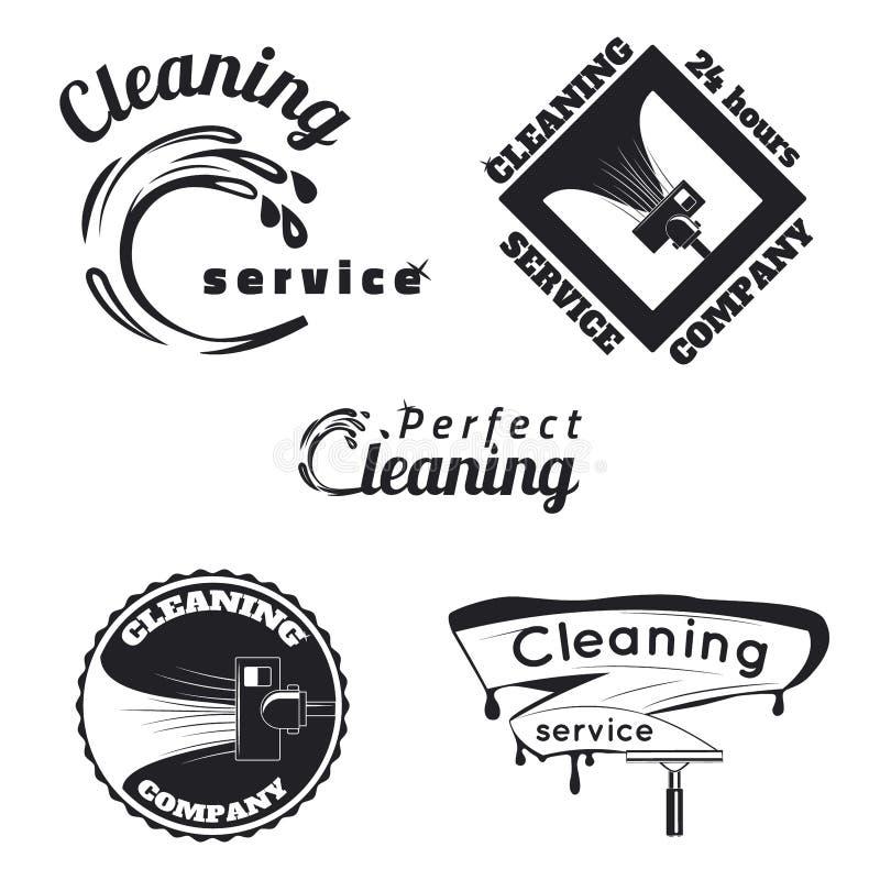 Εκλεκτής ποιότητας καθαρίζοντας εμβλήματα υπηρεσιών απεικόνιση αποθεμάτων