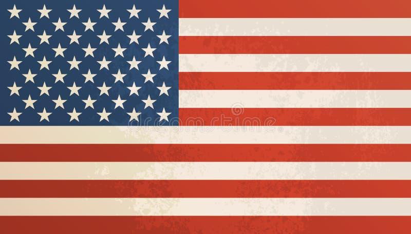 Εκλεκτής ποιότητας κατασκευασμένο υπόβαθρο αμερικανικών σημαιών διανυσματική απεικόνιση