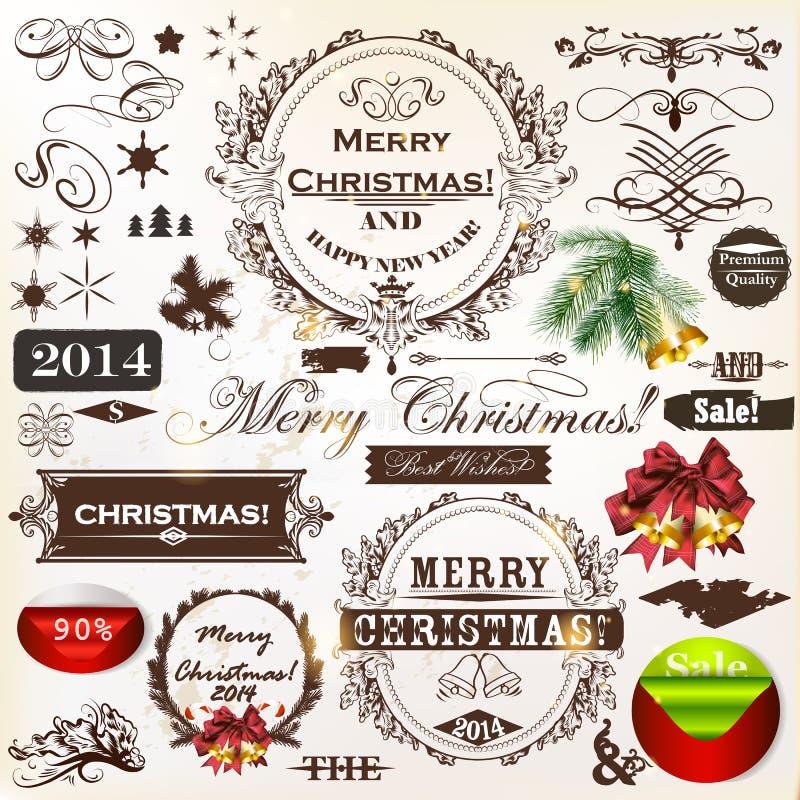 Εκλεκτής ποιότητας καλλιγραφικές στοιχεία Χριστουγέννων και διακοσμήσεις σελίδων ελεύθερη απεικόνιση δικαιώματος