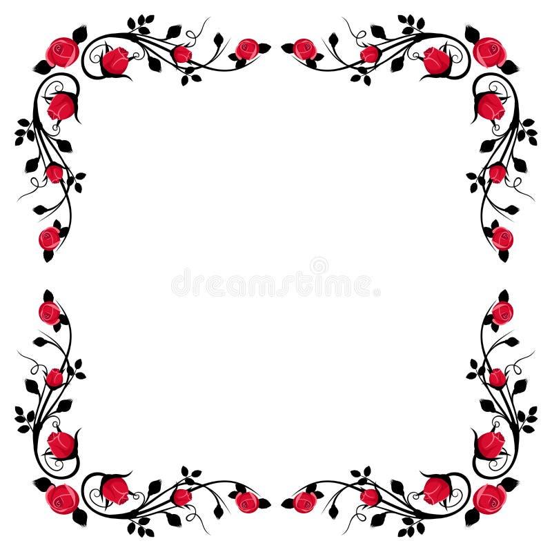 Εκλεκτής ποιότητας καλλιγραφικό πλαίσιο με τα κόκκινα τριαντάφυλλα. απεικόνιση αποθεμάτων