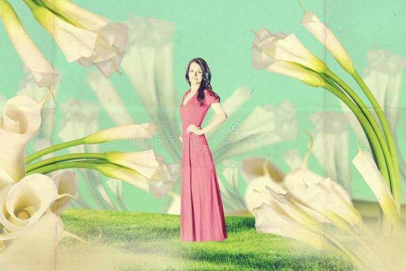 Εκλεκτής ποιότητας κολάζ τέχνης με την όμορφη γυναίκα απεικόνιση αποθεμάτων
