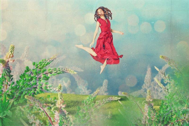 Εκλεκτής ποιότητας κολάζ τέχνης με την όμορφη γυναίκα διανυσματική απεικόνιση