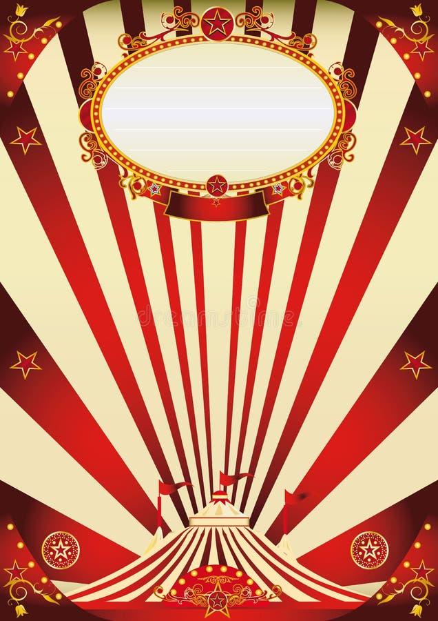 Εκλεκτής ποιότητας κόκκινο τσίρκων και αφίσα κρέμας διανυσματική απεικόνιση