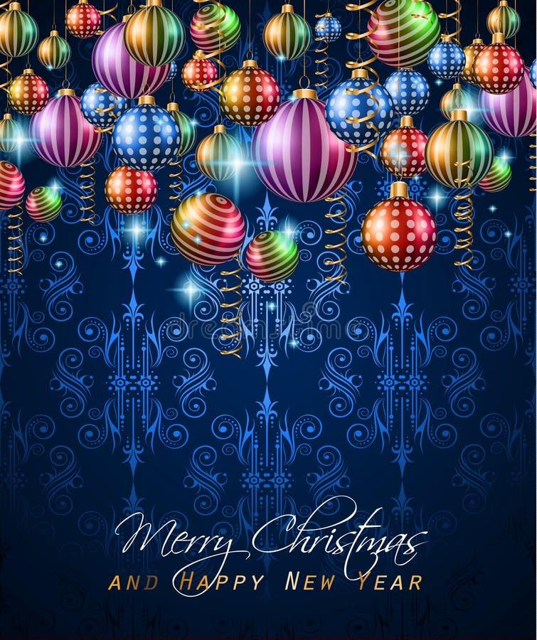 Εκλεκτής ποιότητας κλασικό υπόβαθρο Χριστουγέννων με τις σφαίρες και τα φω'τα αστεριών απεικόνιση αποθεμάτων