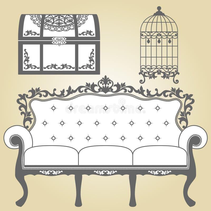 Εκλεκτής ποιότητας κλουβί πουλιών καναπέδων εκλεκτής ποιότητας και εκλεκτής ποιότητας κορμός ελεύθερη απεικόνιση δικαιώματος