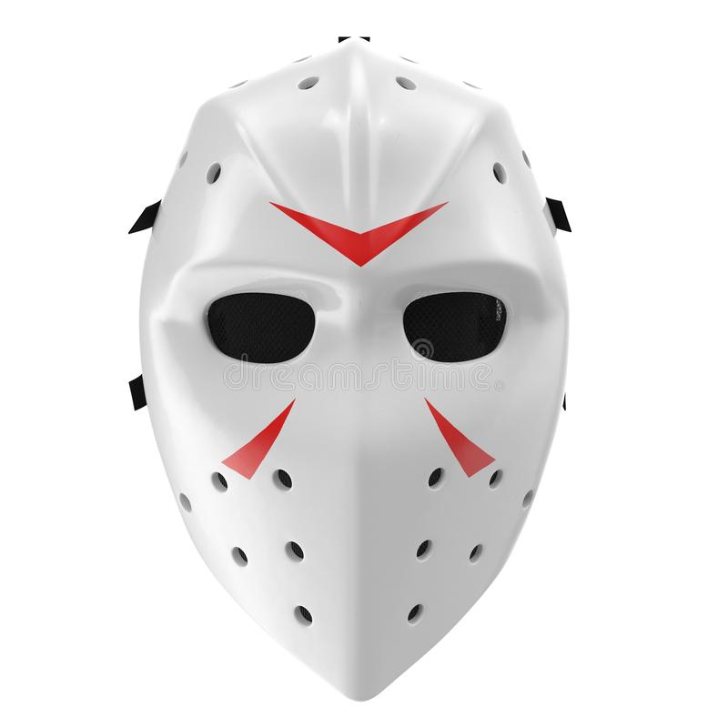 Εκλεκτής ποιότητας μάσκα χόκεϋ στο λευκό Μπροστινή όψη τρισδιάστατη απεικόνιση στοκ φωτογραφίες