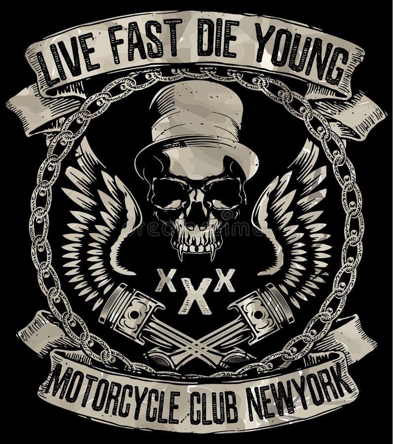Εκλεκτής ποιότητας μοτοσικλέτα Συρμένη χέρι grunge εκλεκτής ποιότητας απεικόνιση με διανυσματική απεικόνιση