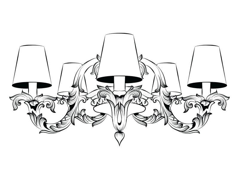 Εκλεκτής ποιότητας μπαρόκ κομψός πολυέλαιος Διανυσματικό ντεκόρ ύφους πολυτέλειας βασιλικό πλούσιο Κλασικό σκίτσο απεικόνισης λαμ απεικόνιση αποθεμάτων
