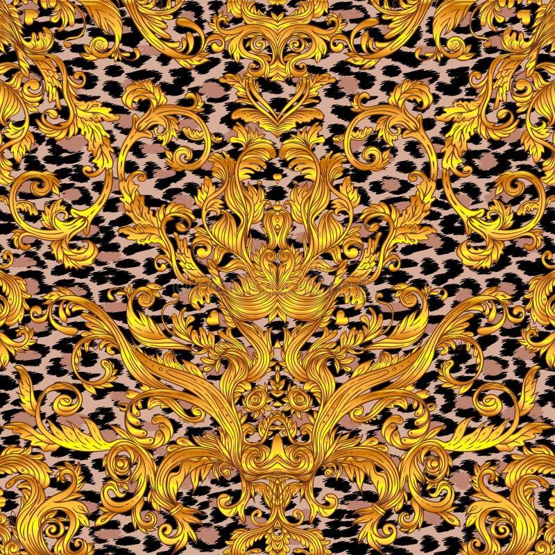 Εκλεκτής ποιότητας μπαρόκ floral άνευ ραφής σχέδιο στο χρυσό πέρα από το λευκό Orna ελεύθερη απεικόνιση δικαιώματος