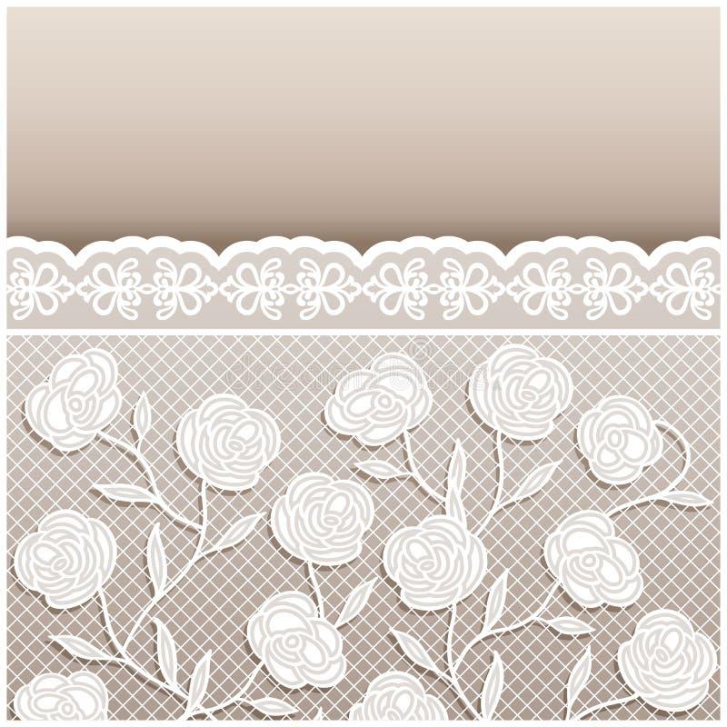 Εκλεκτής ποιότητας μπεζ γαμήλια κάρτα ύφους με τις διακοσμήσεις δαντελλών ελεύθερη απεικόνιση δικαιώματος