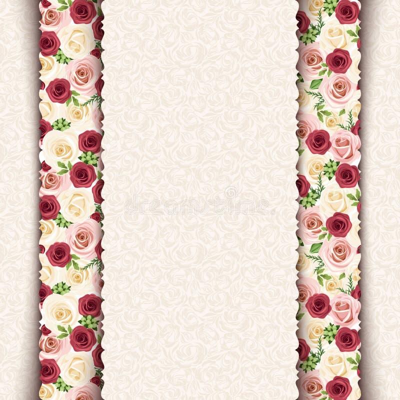 Εκλεκτής ποιότητας μπεζ κάρτα πρόσκλησης με το σχέδιο τριαντάφυλλων Διάνυσμα eps-10 απεικόνιση αποθεμάτων