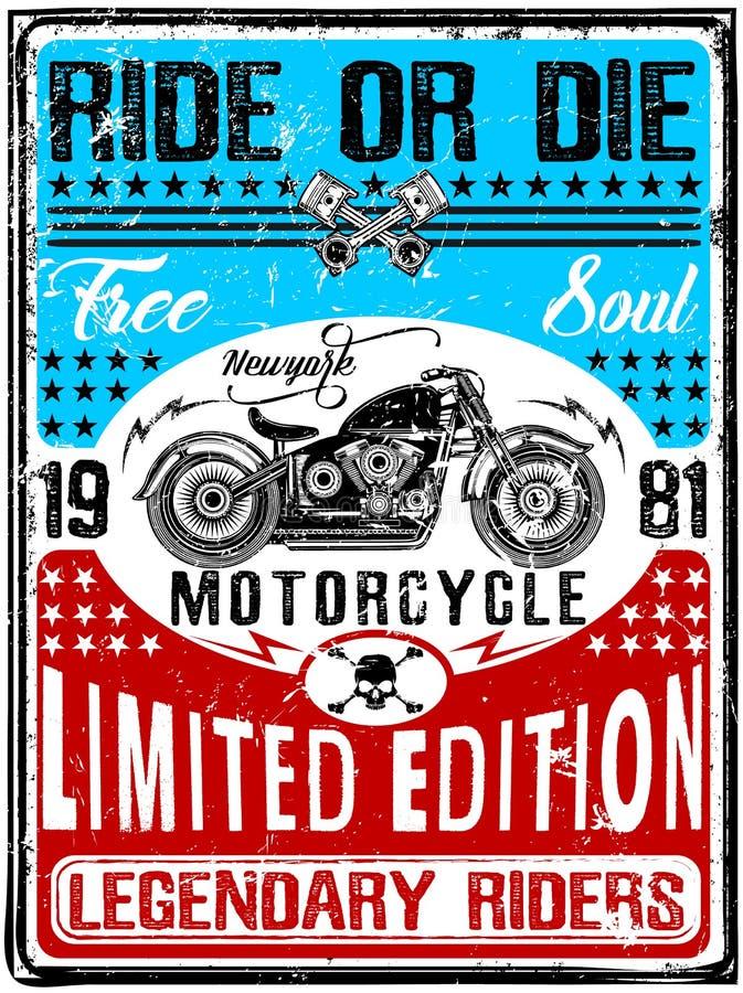 Εκλεκτής ποιότητας μπλούζα μοτοσικλετών γραφική διανυσματική απεικόνιση