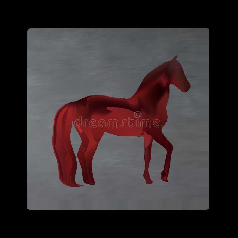 Εκλεκτής ποιότητας μυστικό άλογο στα ερυθρά χρώματα στο μαύρο υπόβαθρο Burgundy μετάξι drape όπως το αίμα ελεύθερη απεικόνιση δικαιώματος