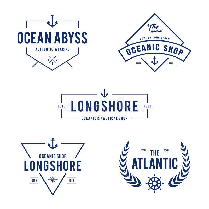 Εκλεκτής ποιότητας ναυτικό και ωκεάνιο διακριτικό ετικετών, αναδρομικό στοιχείο σχεδίου στο άσπρο υπόβαθρο διανυσματική απεικόνιση