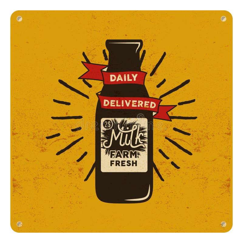 Εκλεκτής ποιότητας οργανικό σημάδι ακατέργαστου γάλακτος στην κίτρινη κάρτα, υπόβαθρο Αναδρομικό κλασικό σχέδιο επίσης corel σύρε ελεύθερη απεικόνιση δικαιώματος