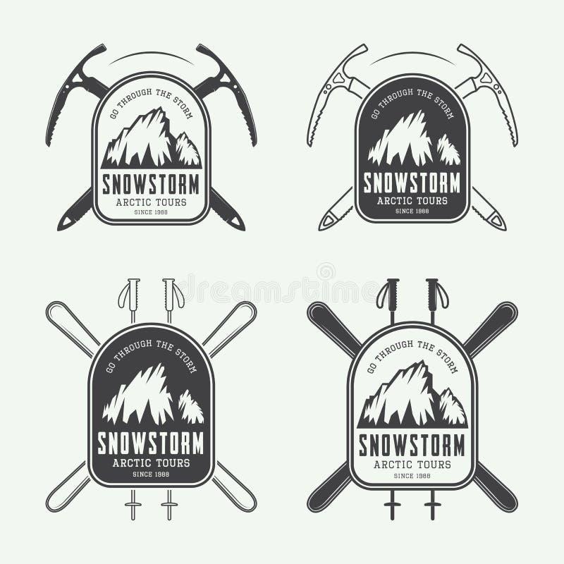 Εκλεκτής ποιότητας ορειβασία και αρκτικά λογότυπα αποστολών, διακριτικά, εμβλήματα και στοιχεία σχεδίου διανυσματική απεικόνιση
