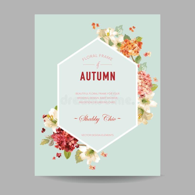 Εκλεκτής ποιότητας λουλούδια Watercolor Hortensia φθινοπώρου για την πρόσκληση, γάμος, κάρτα ντους μωρών απεικόνιση αποθεμάτων