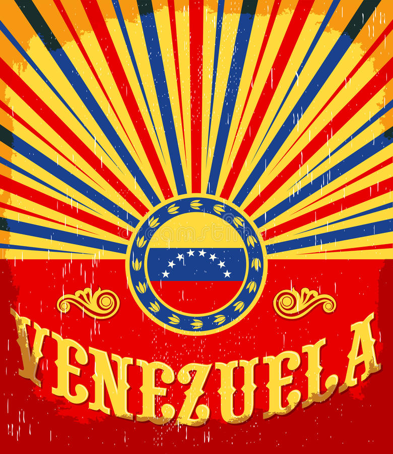 Εκλεκτής ποιότητας παλαιά αφίσα της Βενεζουέλας με τα της Βενεζουέλας χρώματα σημαιών διανυσματική απεικόνιση