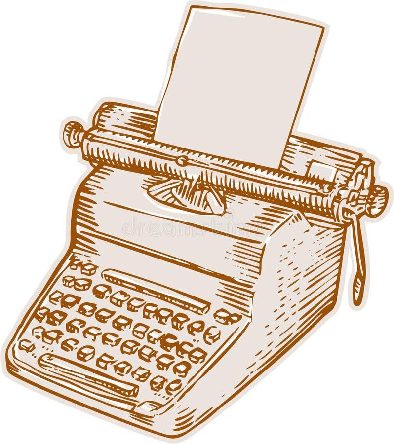 Εκλεκτής ποιότητας παλαιά γραφομηχανή χαρακτική ύφους ελεύθερη απεικόνιση δικαιώματος