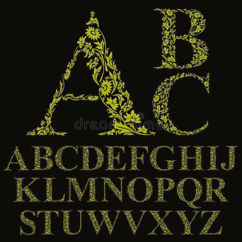 Εκλεκτής ποιότητας πηγή επιστολών ύφους floral, διανυσματικό αλφάβητο απεικόνιση αποθεμάτων