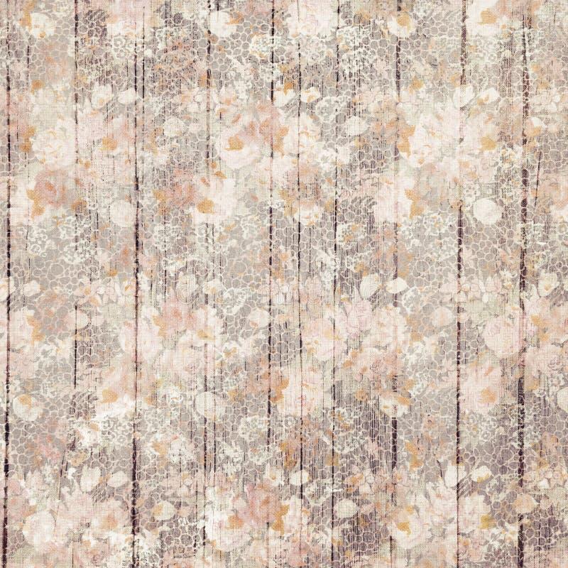 Εκλεκτής ποιότητας πορφυρά βρώμικα λουλούδια και ξύλινο σχέδιο υποβάθρου σιταριού διανυσματική απεικόνιση