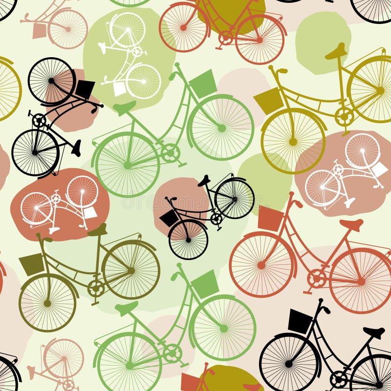 Εκλεκτής ποιότητας ποδήλατα, άνευ ραφής σχέδιο, πράσινα καφετιά μπεζ χρώματα κρητιδογραφιών ελεύθερη απεικόνιση δικαιώματος