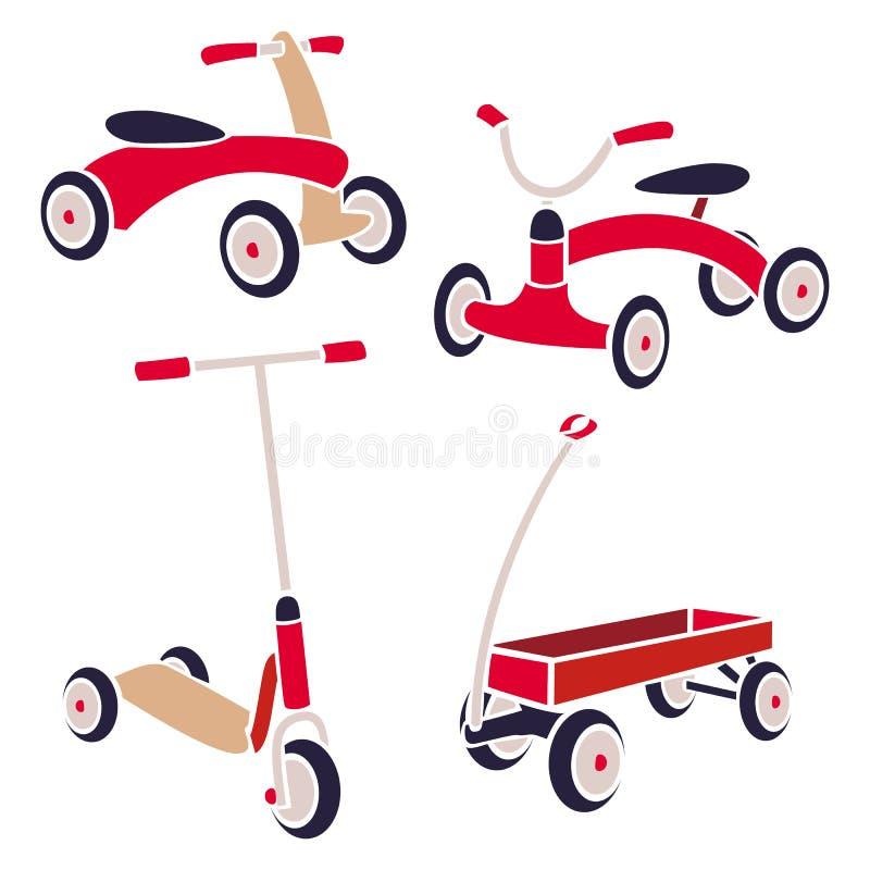 Εκλεκτής ποιότητας ποδήλατο παιχνιδιών παιδιών, μηχανικό δίκυκλο λακτίσματος, κόκκινο βαγόνι εμπορευμάτων Διανυσματική συλλογή ελεύθερη απεικόνιση δικαιώματος