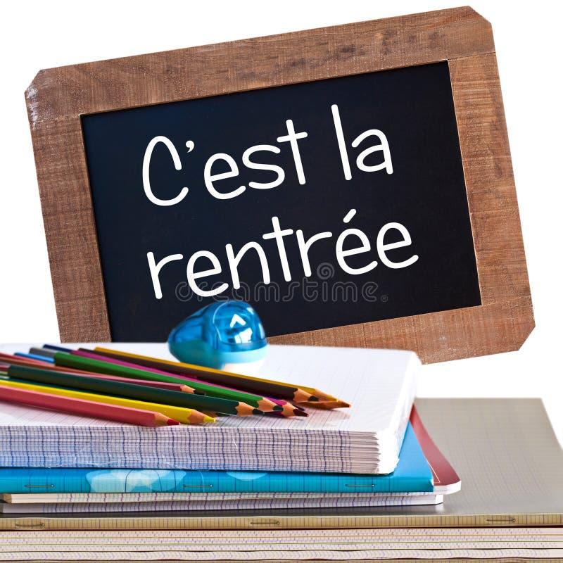 Εκλεκτής ποιότητας προμήθειες rentree και σχολείων ραχών στοκ φωτογραφίες με δικαίωμα ελεύθερης χρήσης