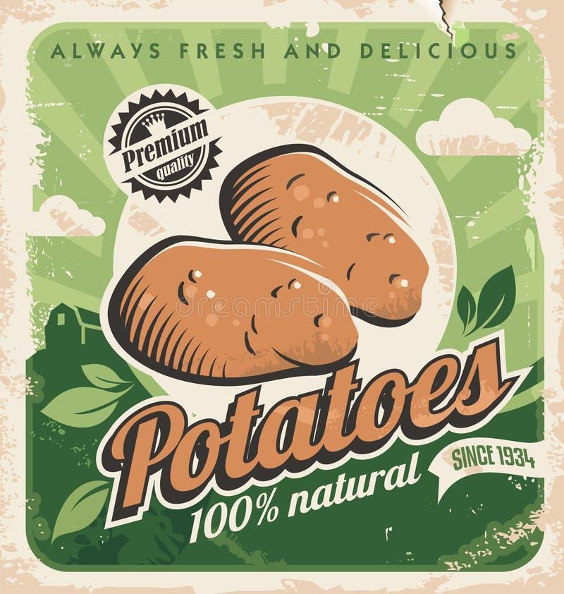 Εκλεκτής ποιότητας πρότυπο αφισών για το αγρόκτημα πατατών απεικόνιση αποθεμάτων