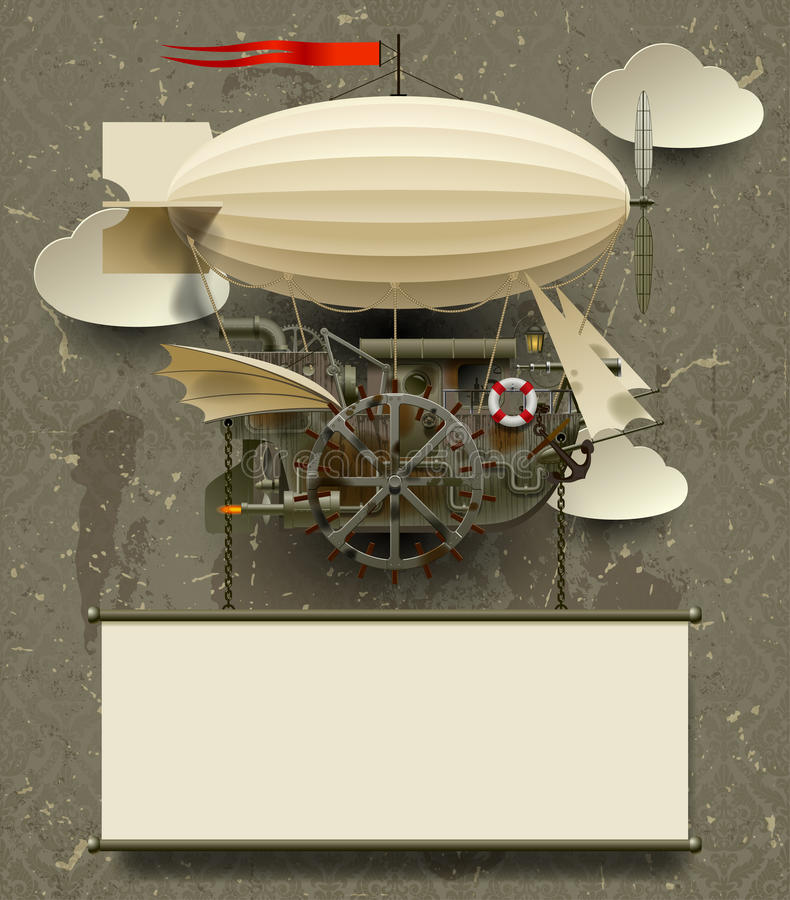 Εκλεκτής ποιότητας πρότυπο Steampunk με ένα σύνθετο φανταστικό πετώντας σκάφος ελεύθερη απεικόνιση δικαιώματος