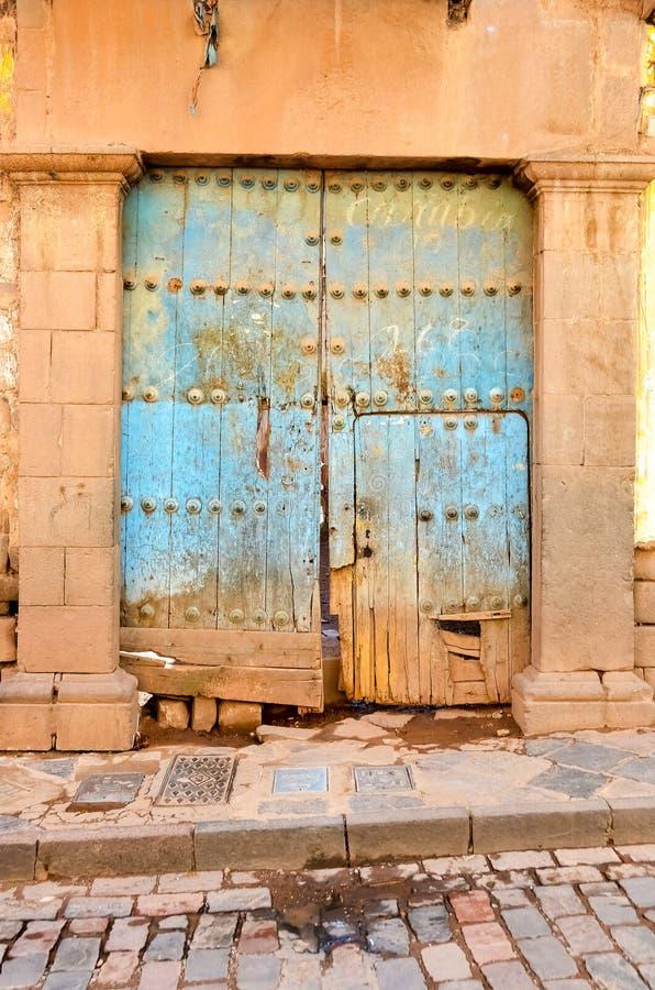 Εκλεκτής ποιότητας πόρτα, μπλε, Περού στοκ εικόνες