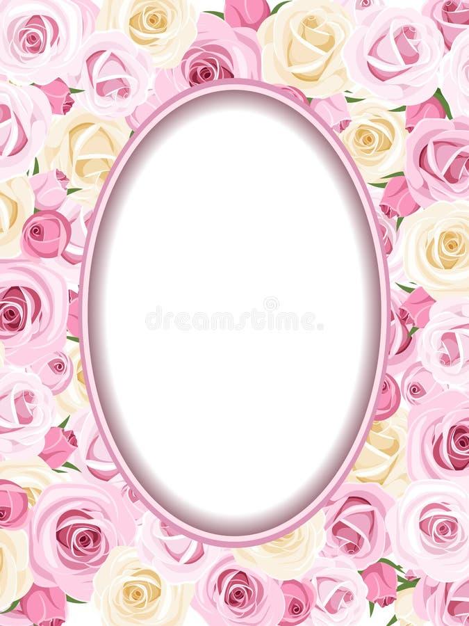 Εκλεκτής ποιότητας πλαίσιο με τα ρόδινα και άσπρα τριαντάφυλλα. ελεύθερη απεικόνιση δικαιώματος
