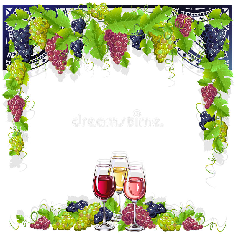 Εκλεκτής ποιότητας πλαίσιο με το κρασί και τα σταφύλια ελεύθερη απεικόνιση δικαιώματος