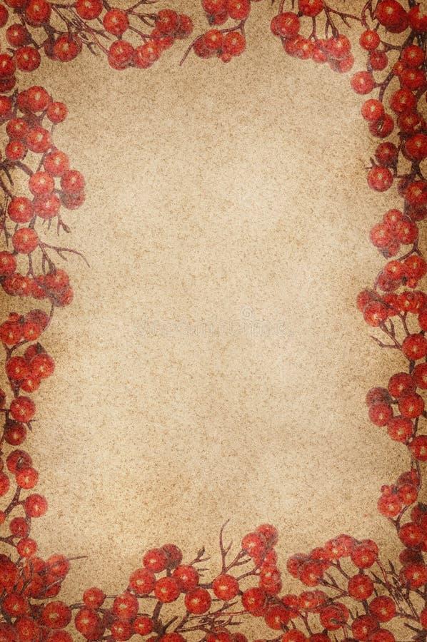 Εκλεκτής ποιότητας πλαίσιο μούρων ελαιόπρινου Χριστουγέννων στοκ εικόνα