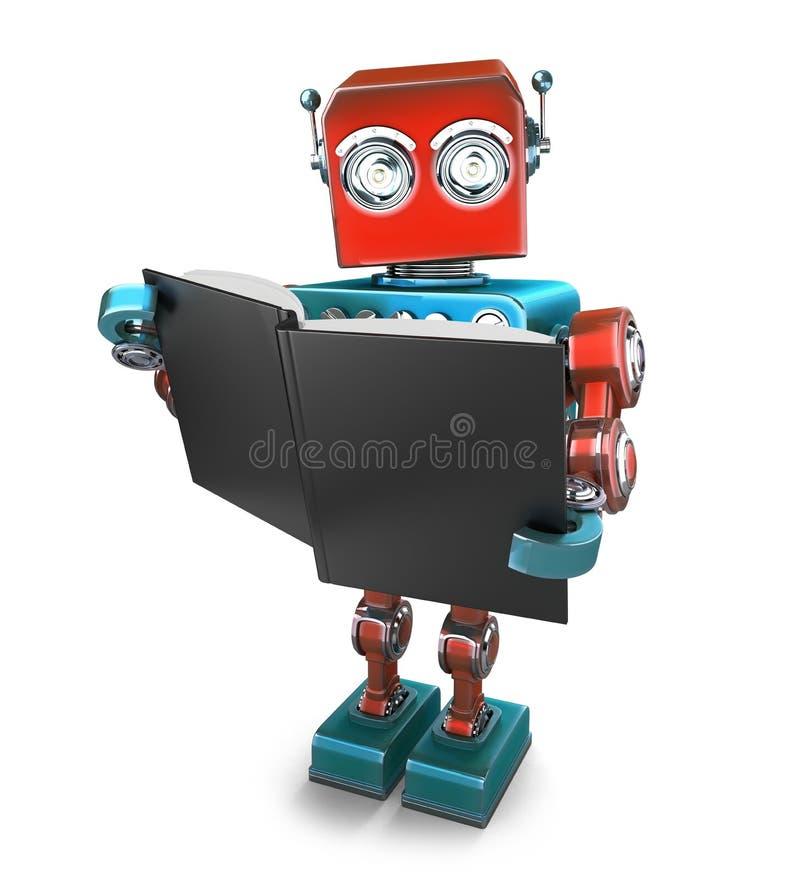 Εκλεκτής ποιότητας ρομπότ με τα βιβλία απομονωμένος Περιέχει το μονοπάτι ψαλιδίσματος ελεύθερη απεικόνιση δικαιώματος