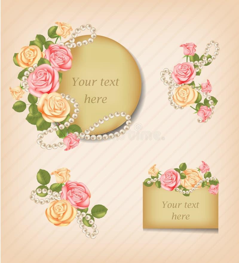 Εκλεκτής ποιότητας ρόδινα, κίτρινα τριαντάφυλλα και περιδέραιο μαργαριταριών Κάρτα πρόσκλησης λουλουδιών, ευχετήρια κάρτα Διακοσμ διανυσματική απεικόνιση