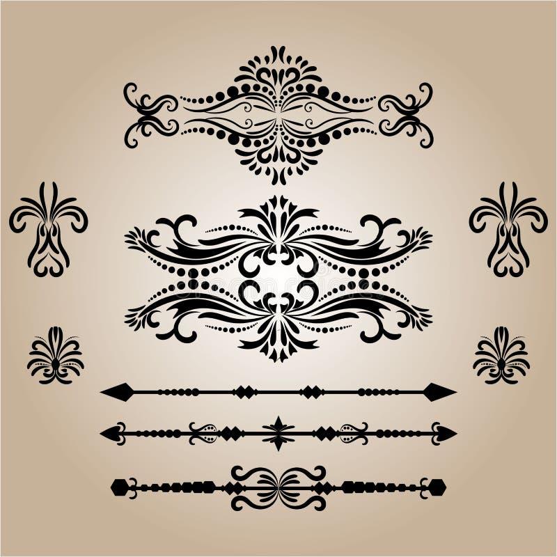 Εκλεκτής ποιότητας στοιχεία διακοσμήσεων Ακμάζει τις καλλιγραφικά διακοσμήσεις και τα πλαίσια αναδρομική συλλογή σχεδίου ύφους απεικόνιση αποθεμάτων