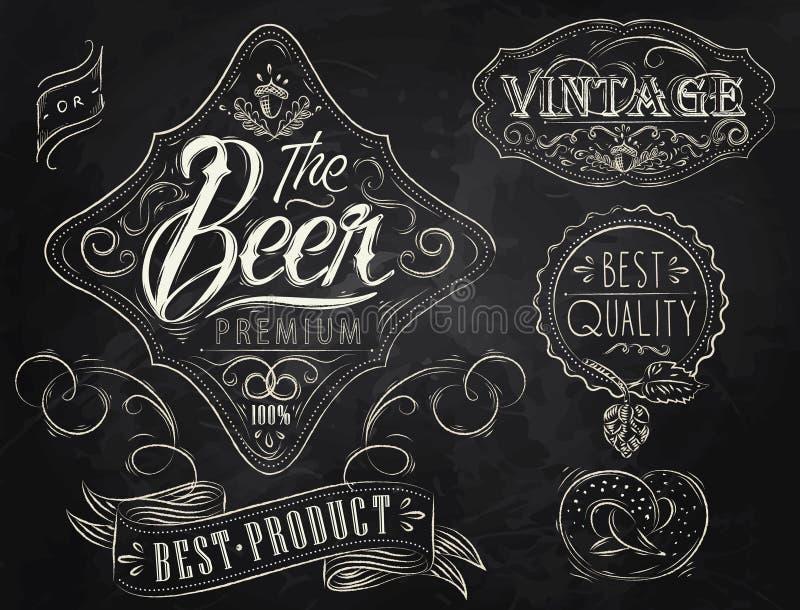 Εκλεκτής ποιότητας στοιχεία μπύρας. Κιμωλία. ελεύθερη απεικόνιση δικαιώματος