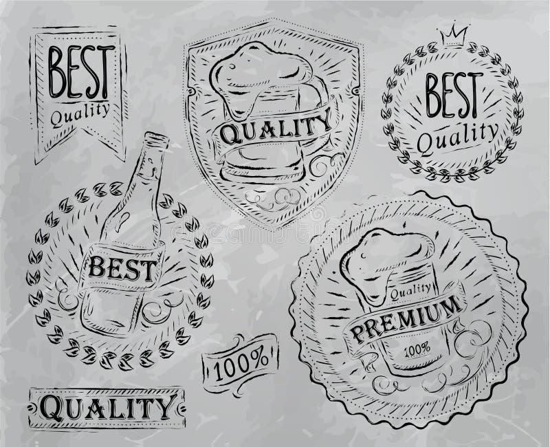 Εκλεκτής ποιότητας στοιχεία μπύρας σχεδίου τυπωμένων υλών. Άνθρακας. διανυσματική απεικόνιση