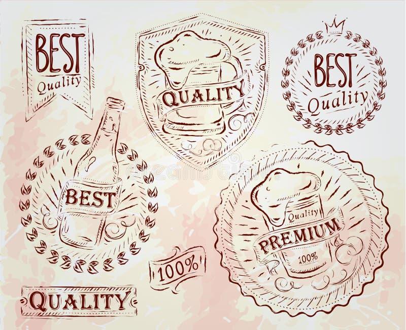 Εκλεκτής ποιότητας στοιχεία μπύρας σχεδίου τυπωμένων υλών. Ανοικτό καφέ κιμωλία. ελεύθερη απεικόνιση δικαιώματος