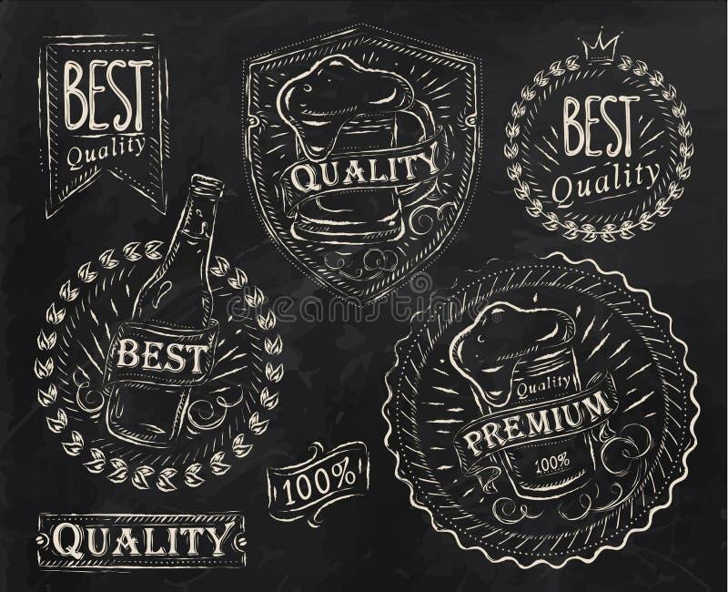 Εκλεκτής ποιότητας στοιχεία μπύρας σχεδίου τυπωμένων υλών. Κιμωλία. ελεύθερη απεικόνιση δικαιώματος