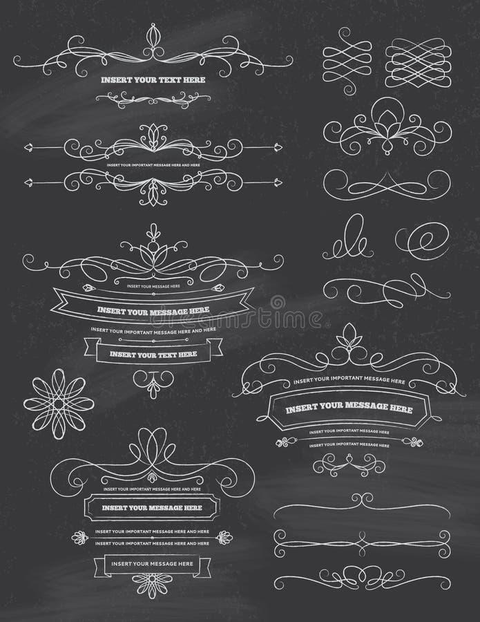 Εκλεκτής ποιότητας στοιχεία σχεδίου πινάκων κιμωλίας καλλιγραφίας διανυσματική απεικόνιση