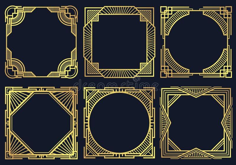 Εκλεκτής ποιότητας στοιχεία σχεδίου deco τέχνης, παλαιά κλασική διανυσματική συλλογή πλαισίων συνόρων διανυσματική απεικόνιση