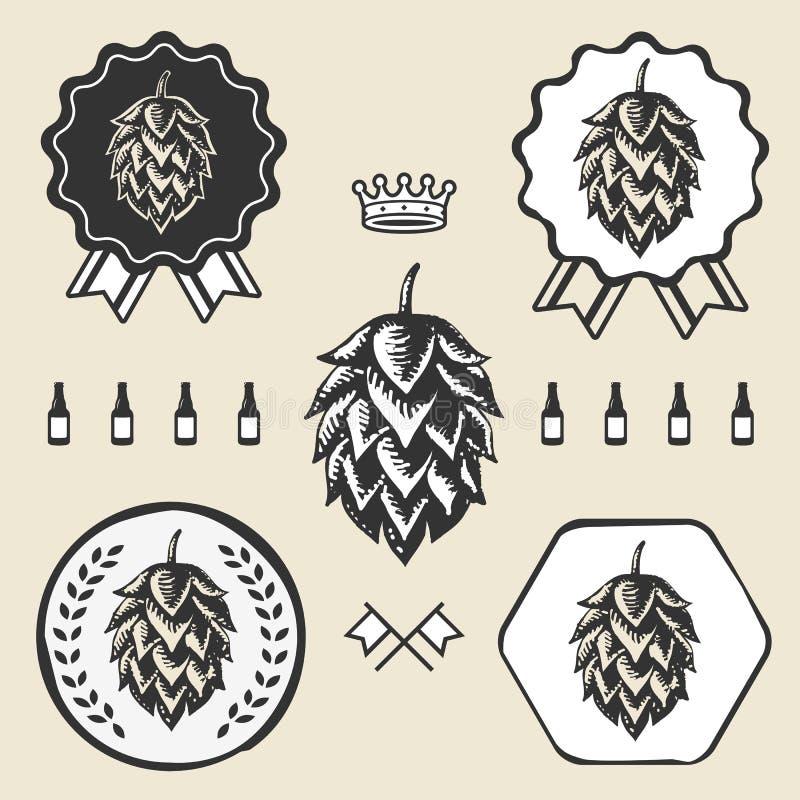 Εκλεκτής ποιότητας στοιχείο ετικετών συμβόλων σημαδιών μπύρας τεχνών λυκίσκου ελεύθερη απεικόνιση δικαιώματος