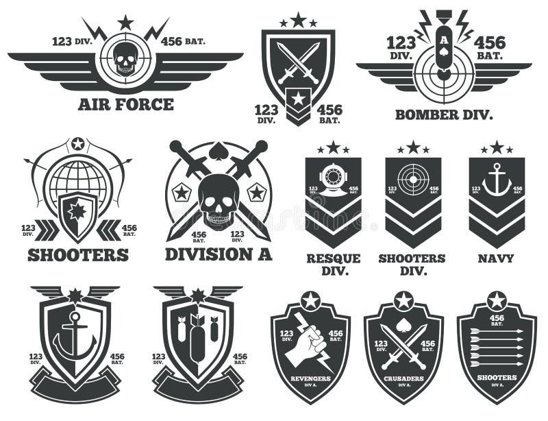 Εκλεκτής ποιότητας στρατιωτικά διανυσματικά ετικέτες και μπαλώματα ελεύθερη απεικόνιση δικαιώματος