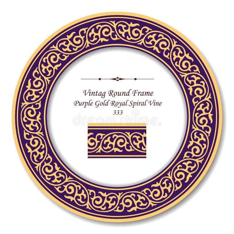 Εκλεκτής ποιότητας στρογγυλό αναδρομικό πλαίσιο 333 πορφυρή χρυσή βασιλική σπειροειδής άμπελος απεικόνιση αποθεμάτων