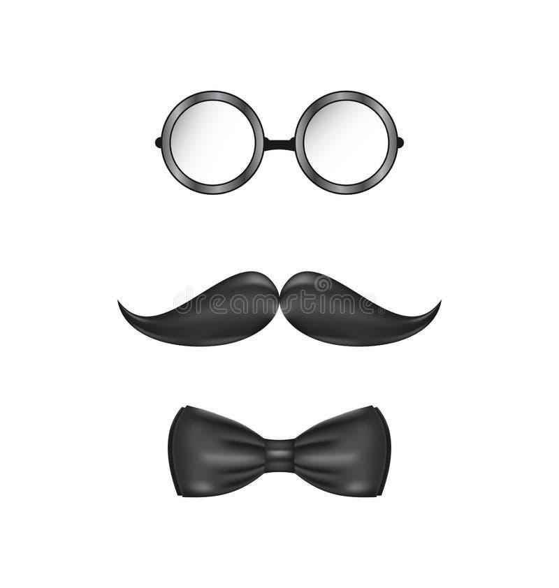 Εκλεκτής ποιότητας συμβολικός ενός προσώπου ατόμων, των γυαλιών, mustache και του τόξο-δεσμού, ι απεικόνιση αποθεμάτων