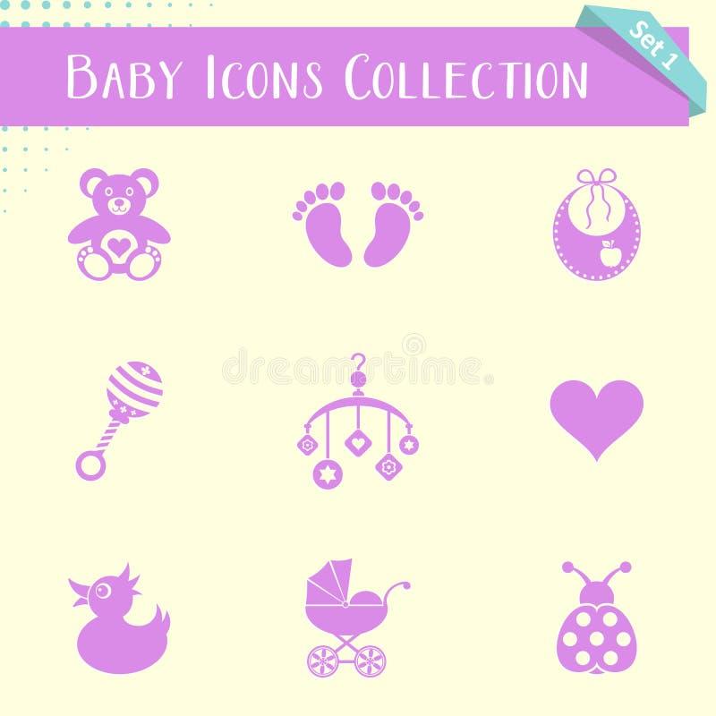 Εκλεκτής ποιότητας συλλογή εικονιδίων μωρών διανυσματική απεικόνιση