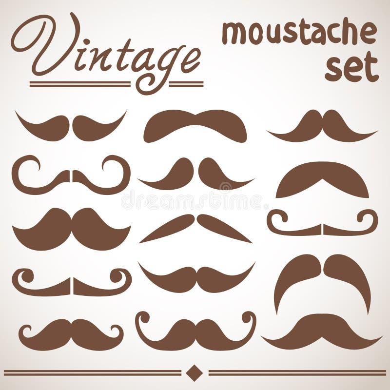 Εκλεκτής ποιότητας συλλογή hipster moustache διανυσματική απεικόνιση