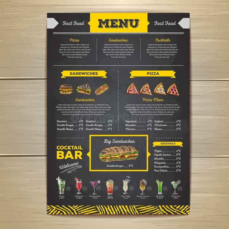 Εκλεκτής ποιότητας σχέδιο επιλογών γρήγορου φαγητού σχεδίων κιμωλίας ελεύθερη απεικόνιση δικαιώματος